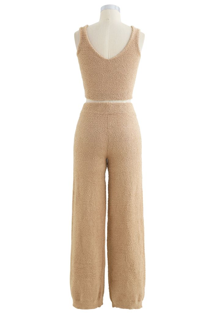 Fluffy Knit Crop Tank Top and Pants Set in Tan