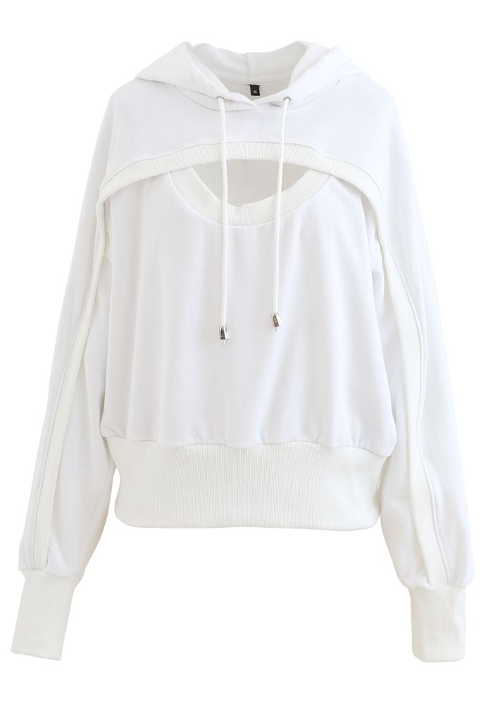 Spliced Cutout Hooded Cropped Sweatshirt in White
