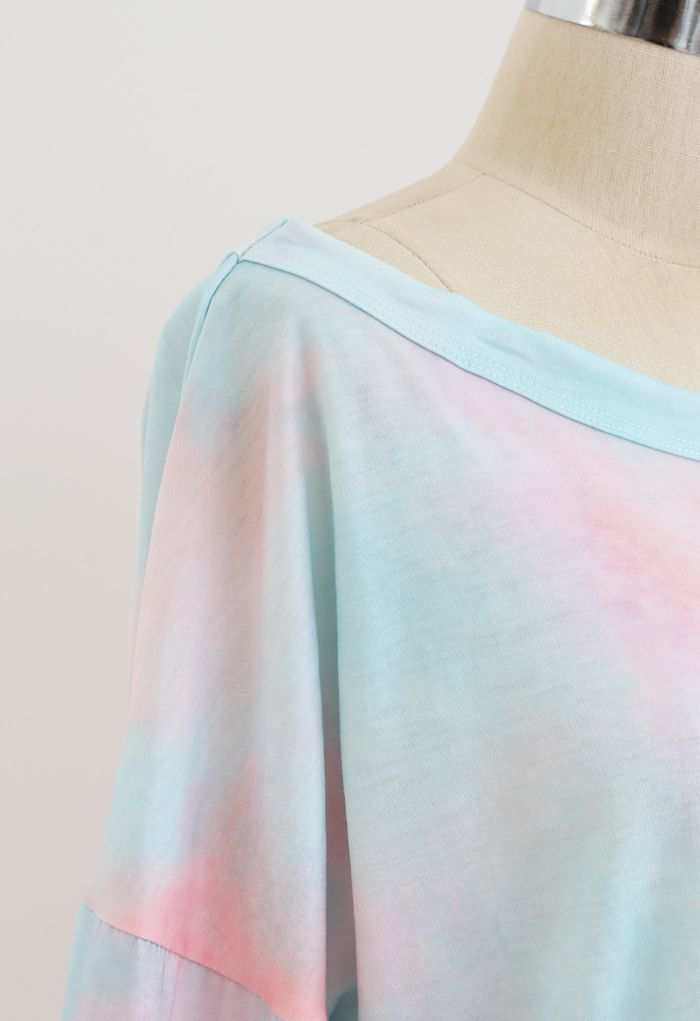 Pinky Tie Dye Loose Sweatshirt and Shorts Set