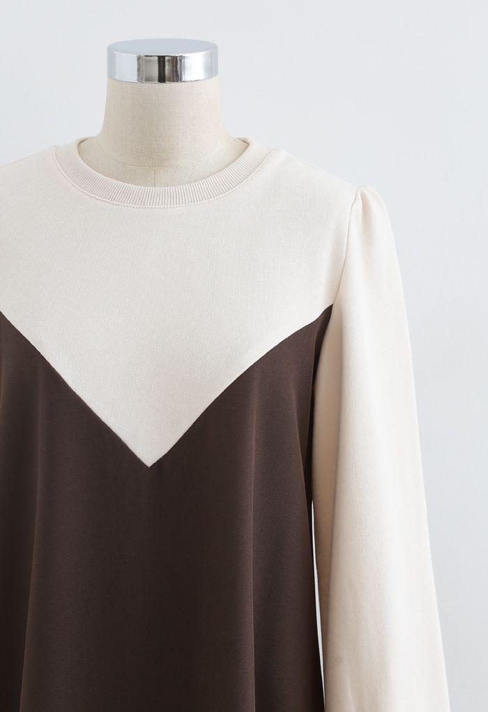 Casual Two-Tone Sweatshirt Dress in Brown