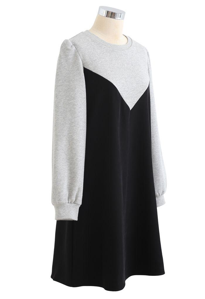 Casual Two-Tone Sweatshirt Dress in Black