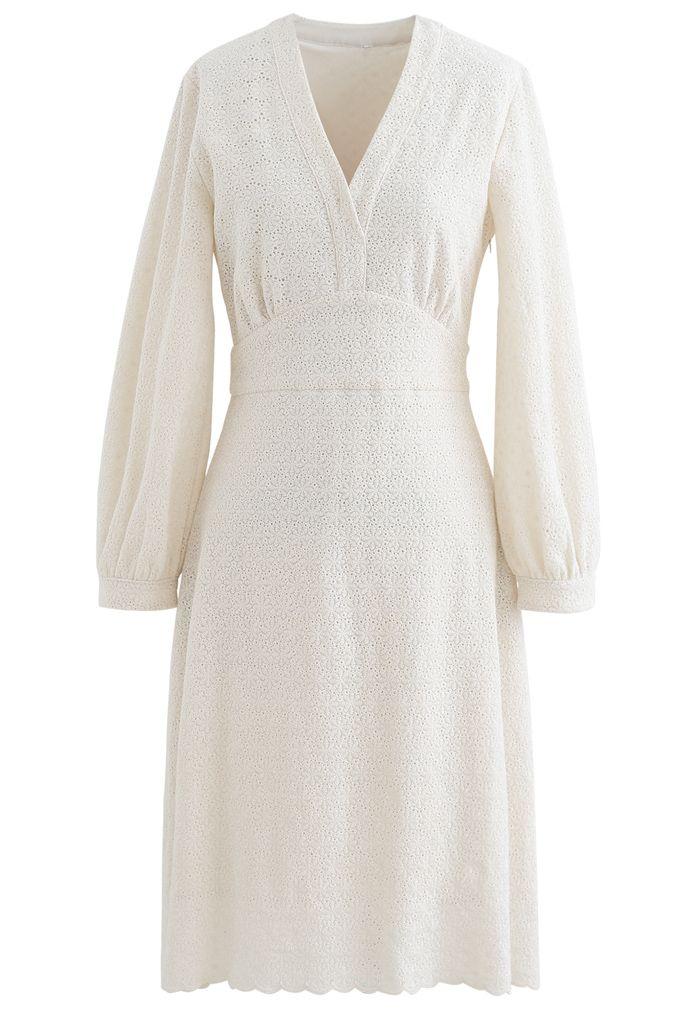 Full Floret Embroidered V-Neck Dress in Cream