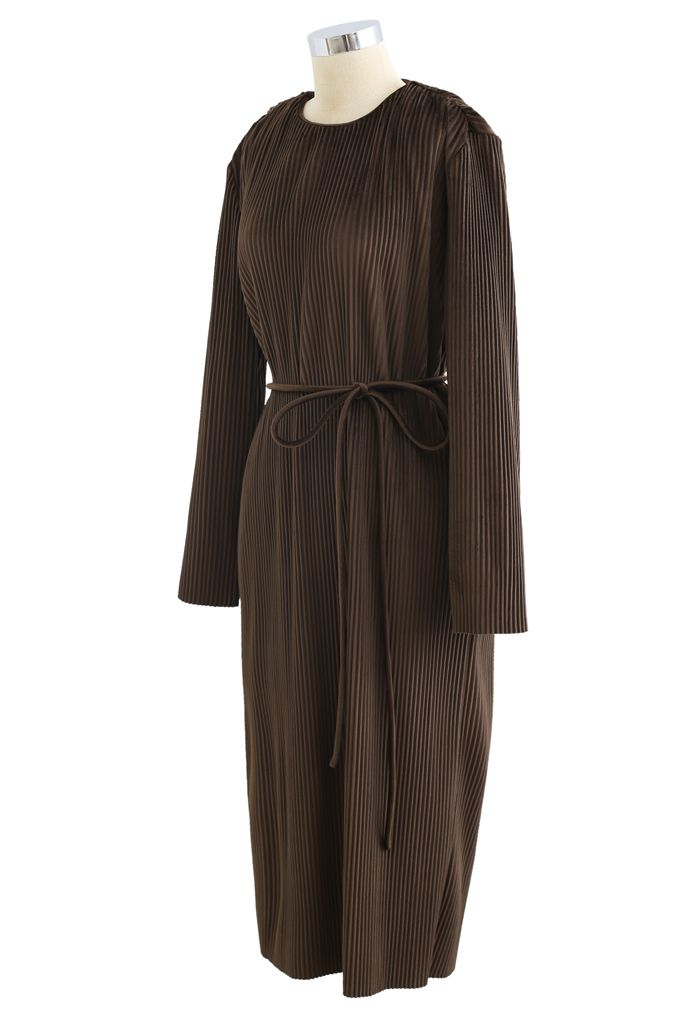 Self-Tied String Pleated Suede Midi Dress in Brown