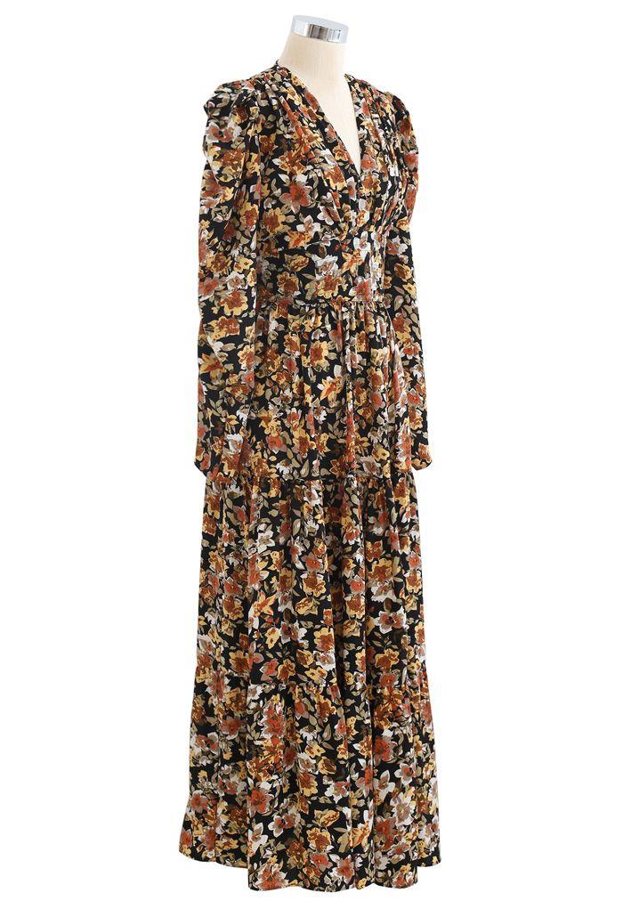 V-Neck Puff Shoulders Floral Maxi Dress in Black