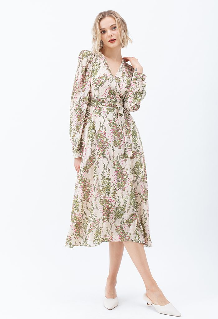 Floral Wrap Bowknot Chiffon Dress in Cream