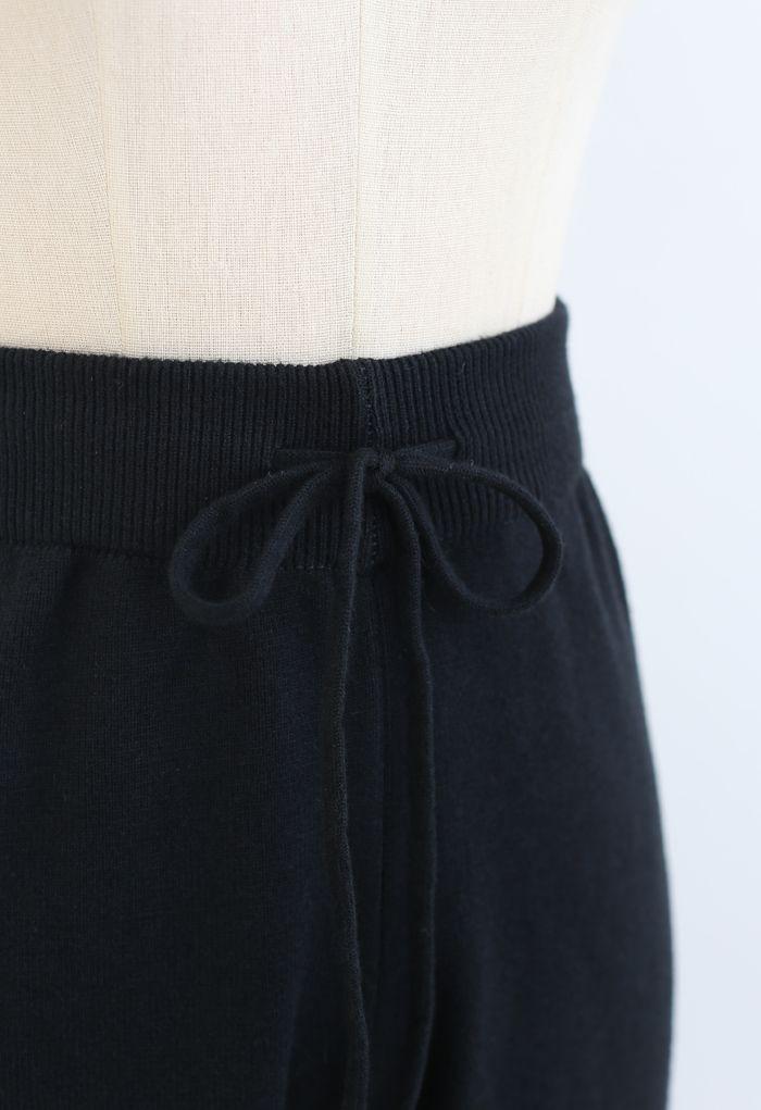 Straight Leg Drawstring Waist Knit Pants in Black
