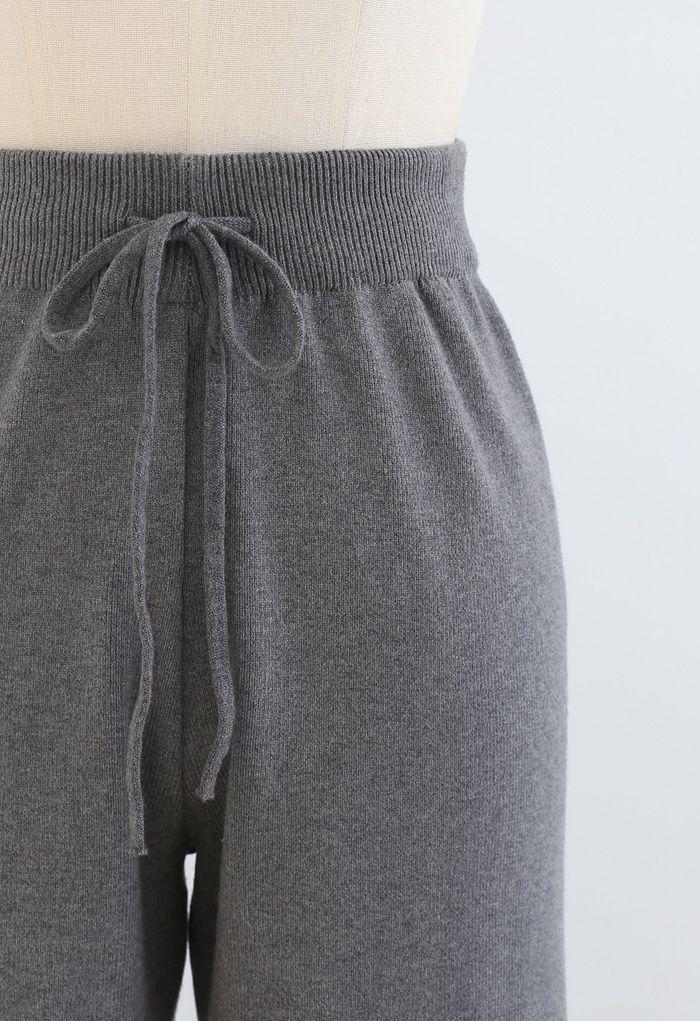 Straight Leg Drawstring Waist Knit Pants in Grey