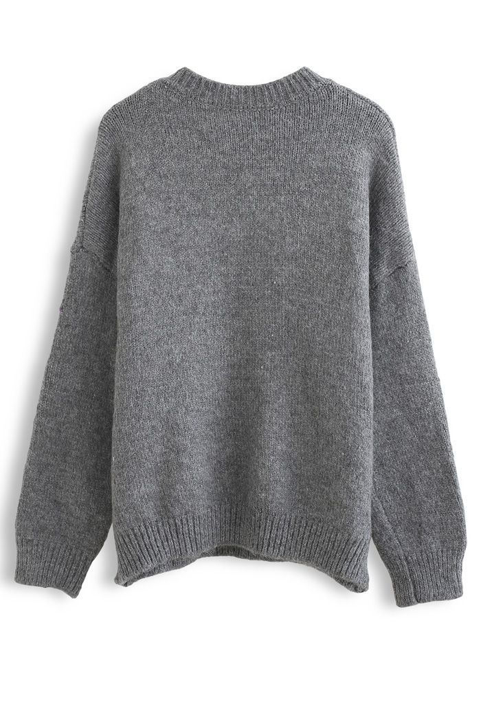 Crew Neck Floral Embroidered Knit Sweater in Grey