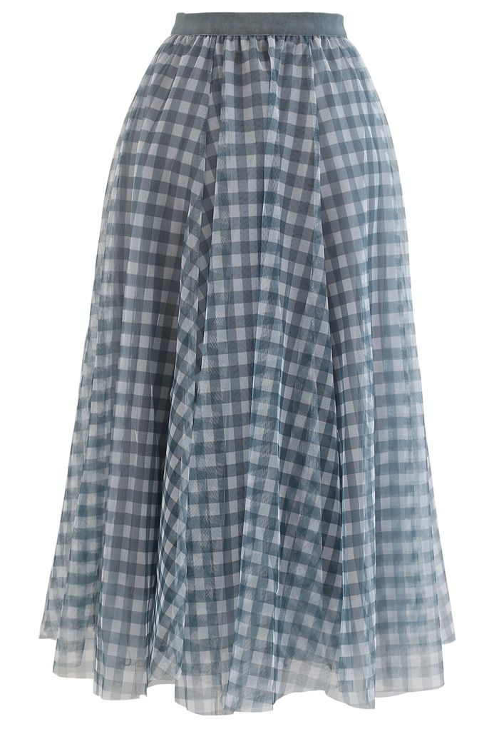 Gingham Double-Layered Mesh Tulle Midi Skirt in Green