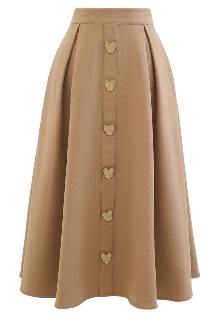Heart Shape Button Embellished A-Line Midi Skirt in Camel
