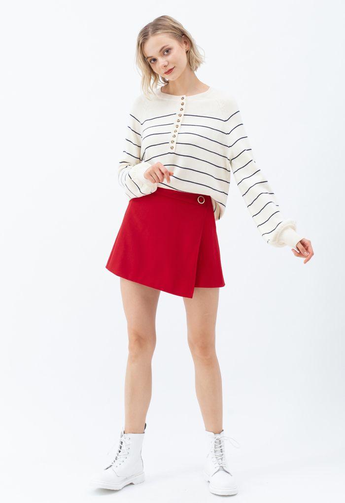 Striped Button Knit Sweater in Cream