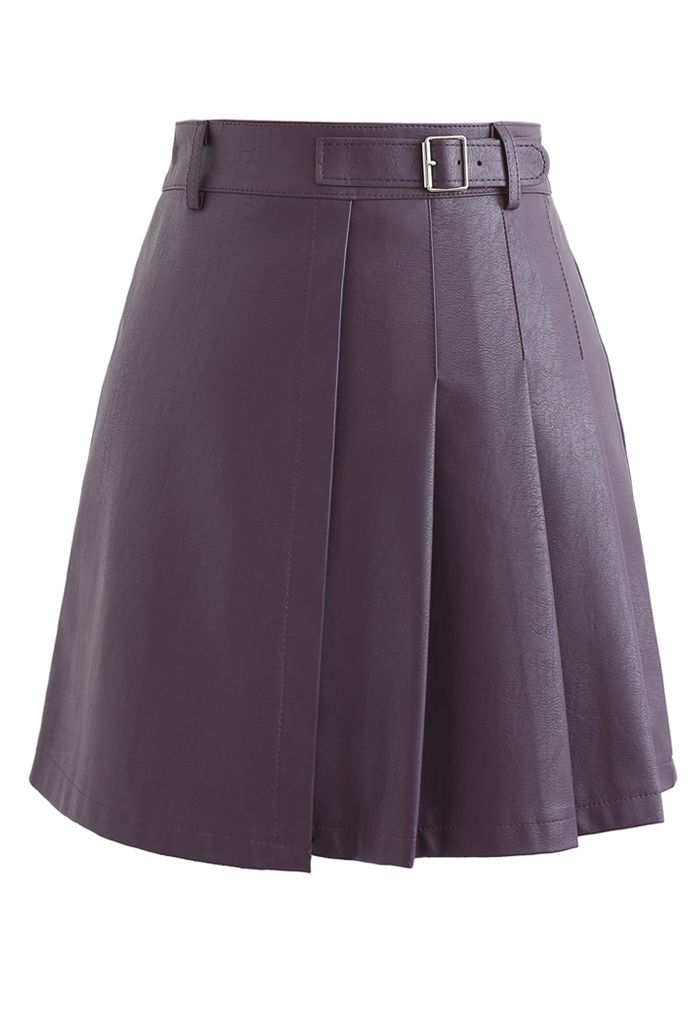 Belt Detail Faux Leather Pleated Mini Skirt in Purple