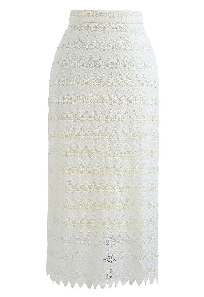 Scrolled Hem Full Crochet Pencil Skirt in Cream