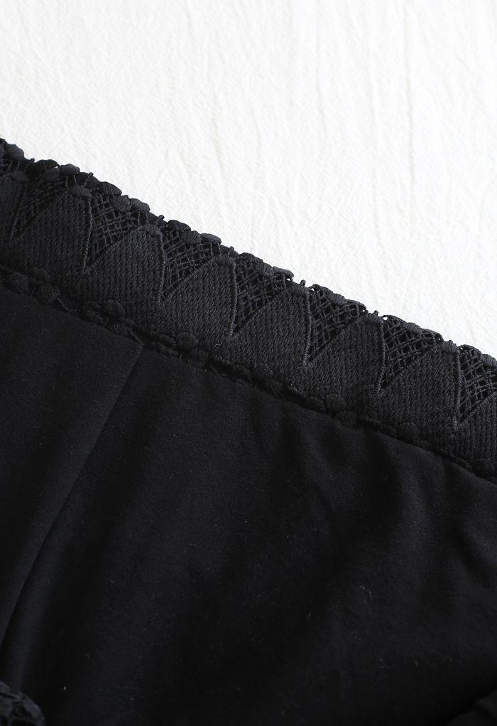 Scrolled Hem Full Crochet Pencil Skirt in Black