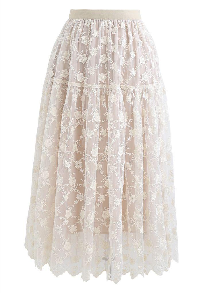 Floral Organza Overlay Mesh Midi Skirt in Cream
