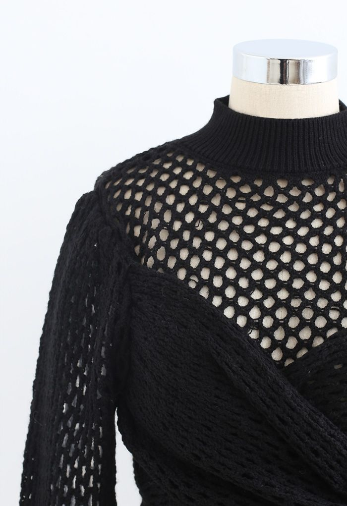 Hollow Out Wrap Bowknot Crop Sweater in Black