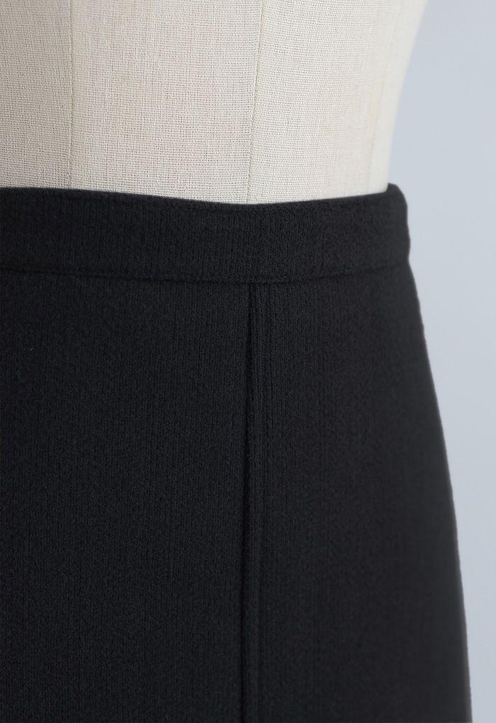 Split Fuzzy Rib Skirt in Black