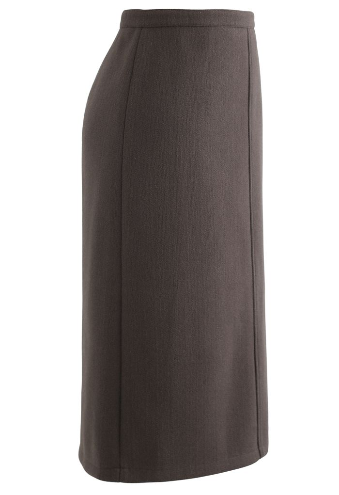 Split Fuzzy Rib Skirt in Brown