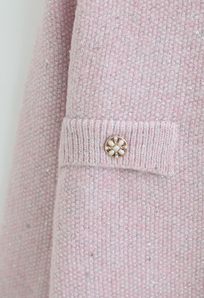 Sequins Thread Button Down Knit Cardigan in Pink