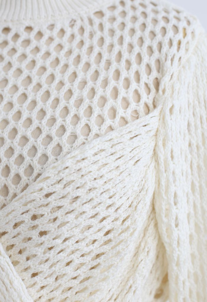 Hollow Out Wrap Bowknot Crop Sweater in Ivory