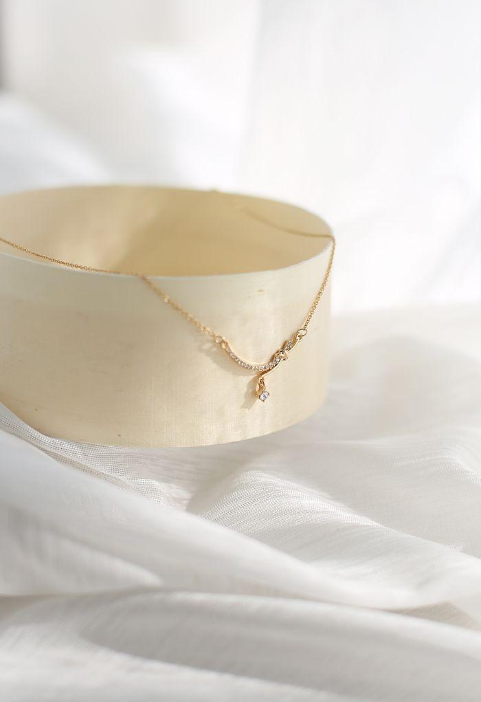 Diamond Knot Gold Necklace