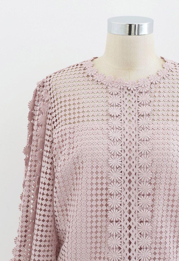 Solid Tone Full Crochet Long Sleeves Top in Pink