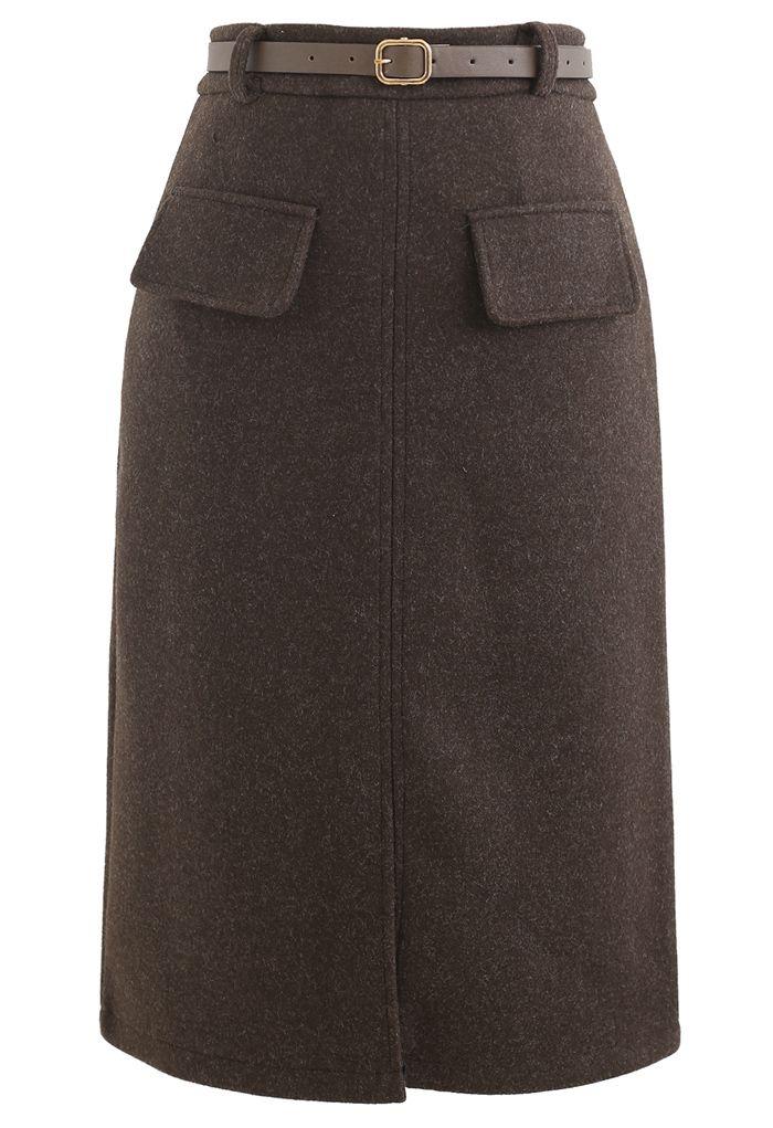 Belted Wool-Blend Split Skirt in Brown