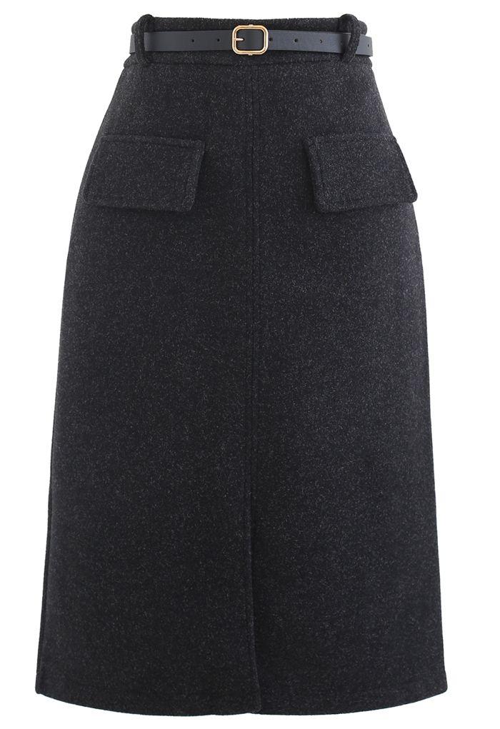 Belted Wool-Blend Split Skirt in Smoke