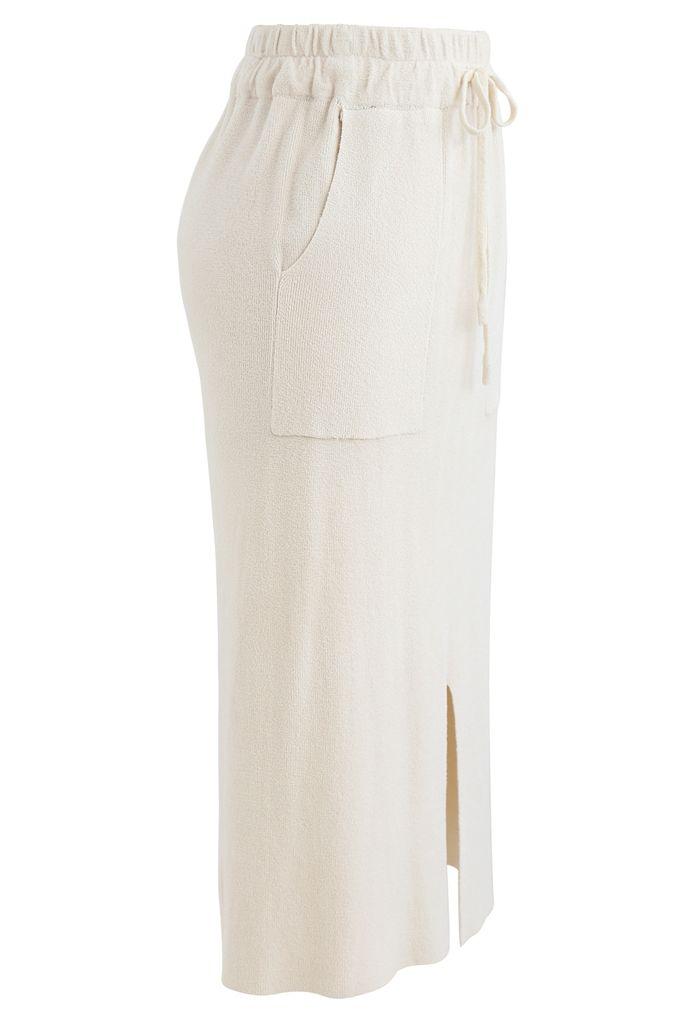 Drawstring Waist Pockets Pencil Knit Skirt in Cream