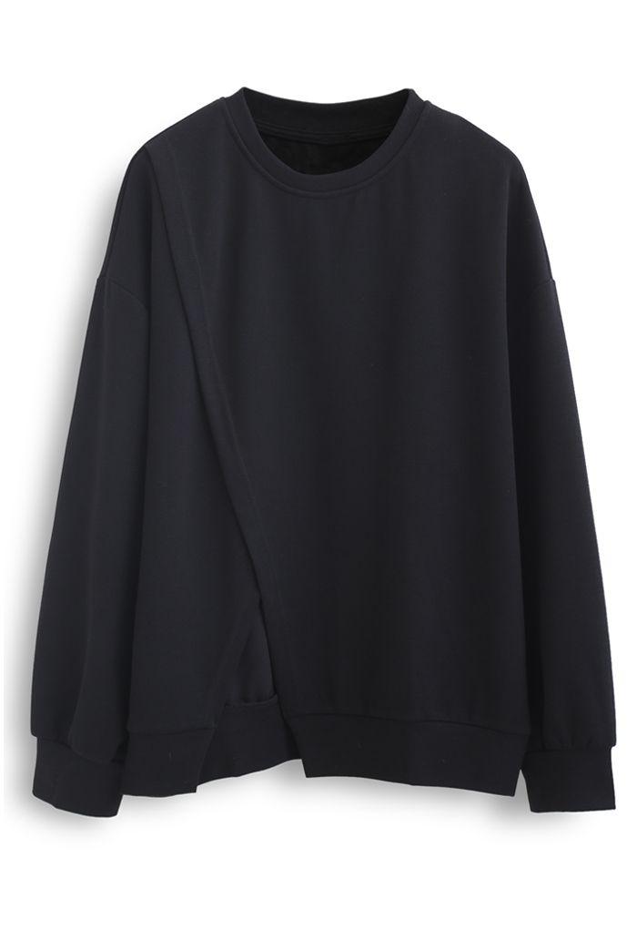 Cross Flap Front Oversized Sweatshirt in Black