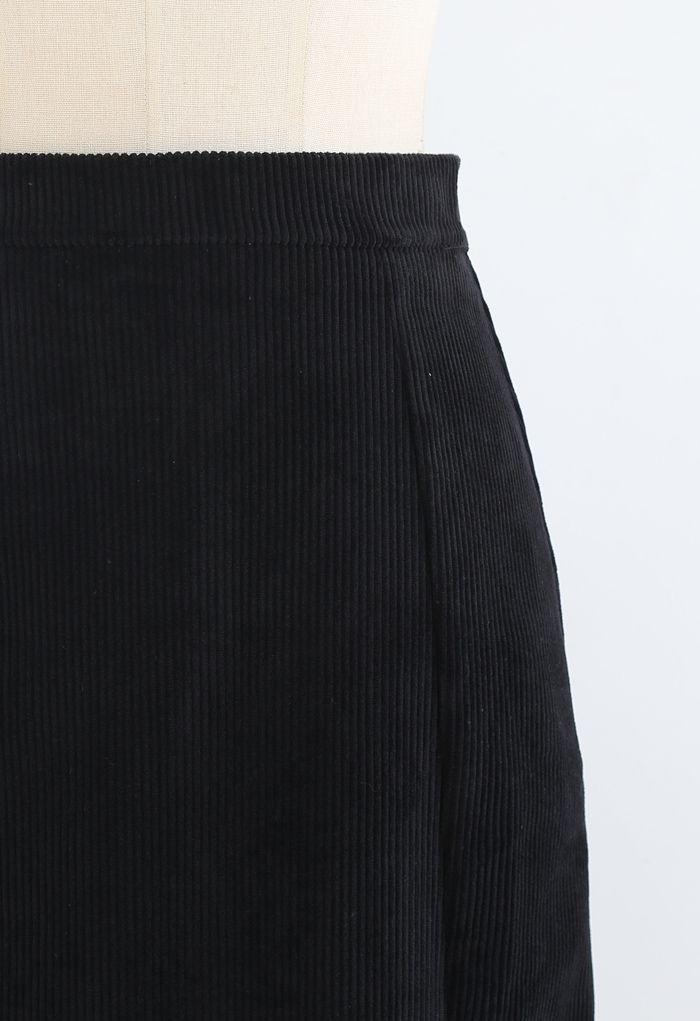 Front Split Corduroy Midi Skirt in Black