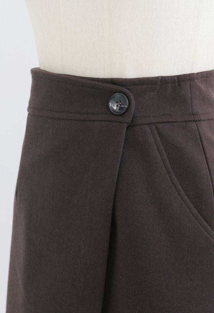 Flap Button Wool-Blend Mini Skirt in Brown