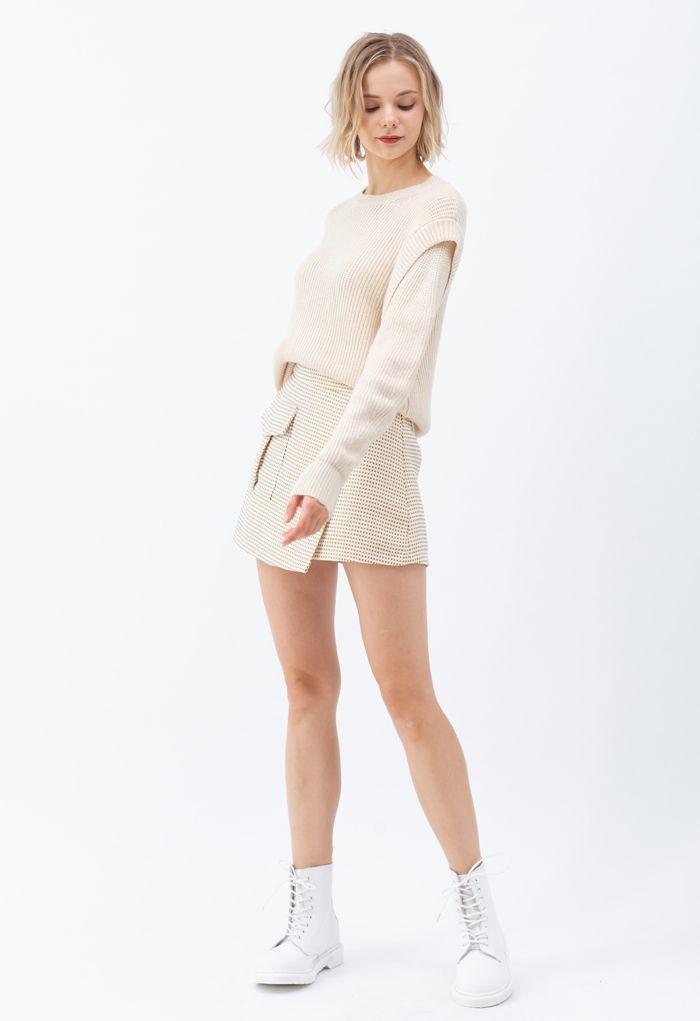 Soft Hue Round Neck Rib Knit Sweater in Cream