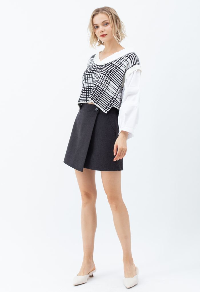 Bubble-Sleeve Splicing Hi-Lo Shirt Sweater in Ivory