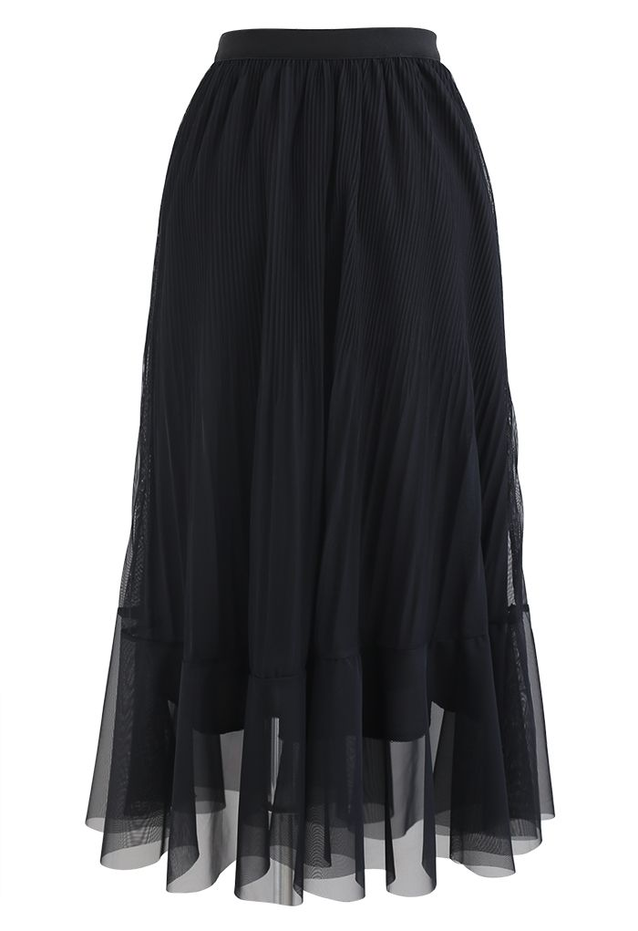 Lightsome Chiffon Pleated Midi Skirt in Black