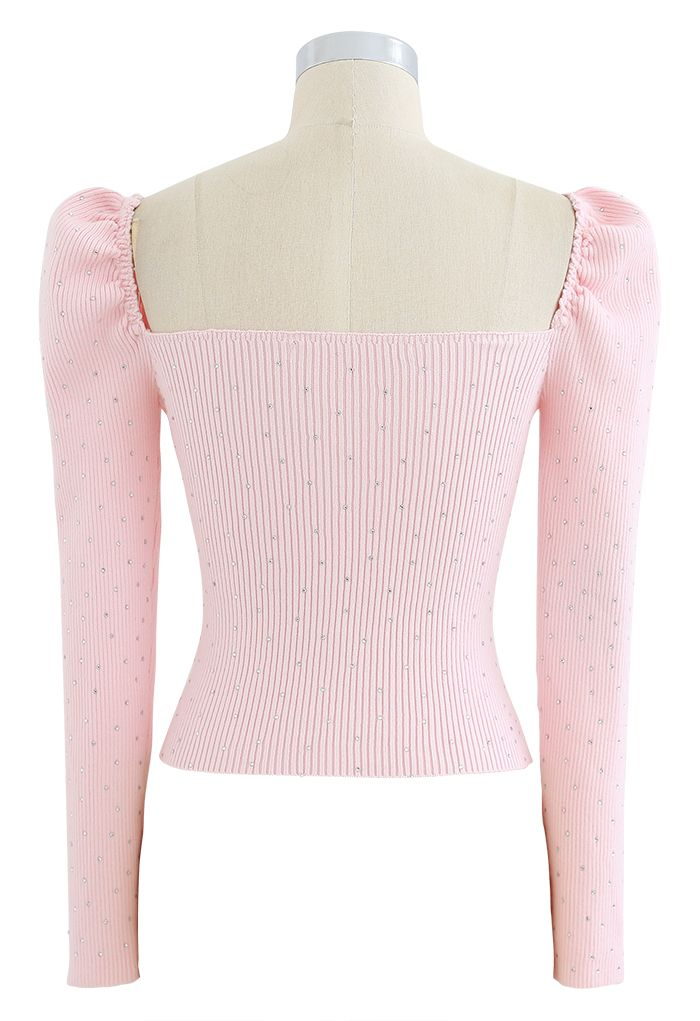 Flickering Square Neck Fitted Crop Knit Top in Pink