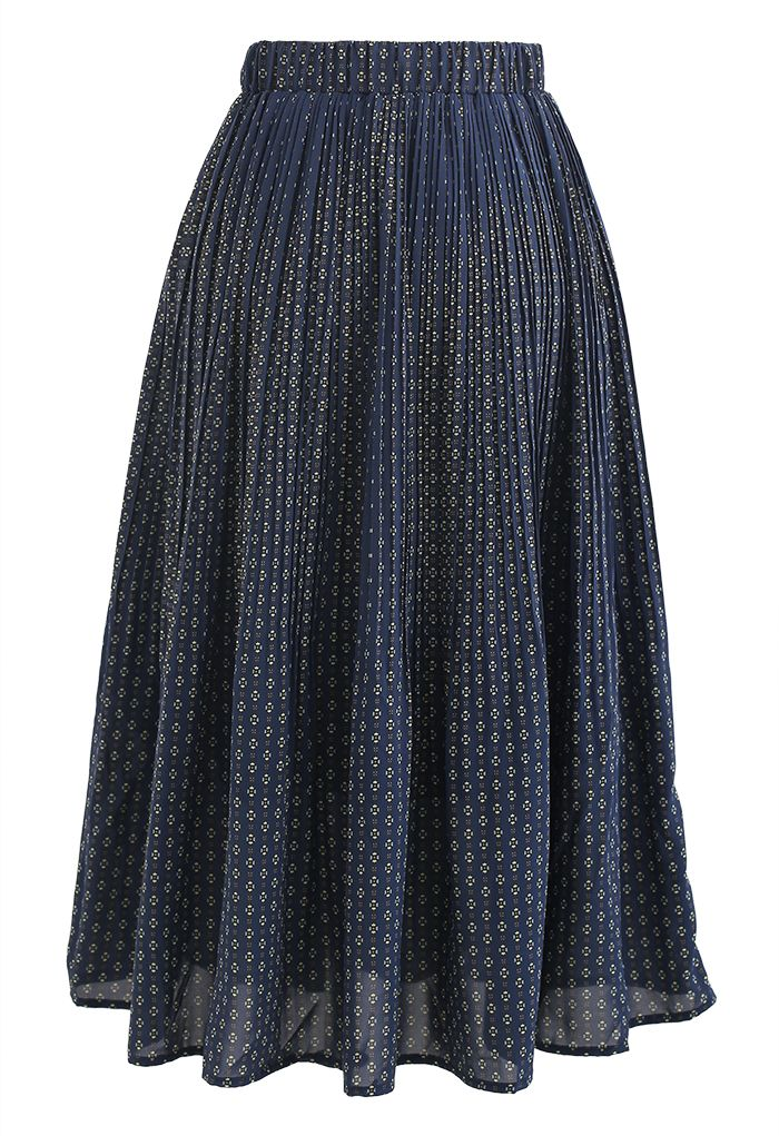 Ample Floret Pleated Chiffon Skirt in Navy