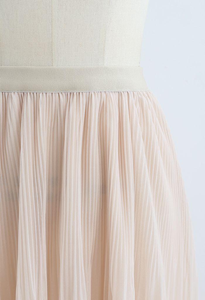 Lightsome Chiffon Pleated Midi Skirt in Cream