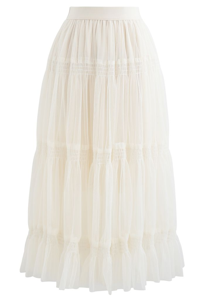 Shirred Elastic Double-Layered Mesh Skirt in Ivory