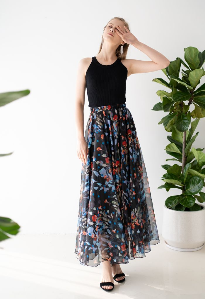 Blooming Calla Lily Watercolor Maxi Skirt in Black