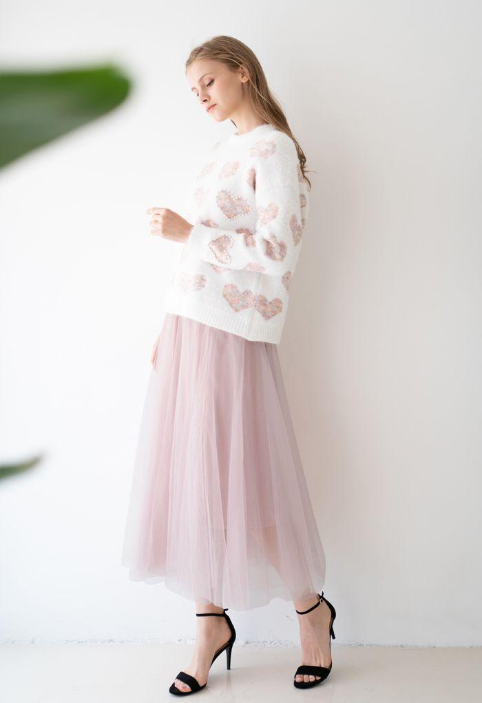 My Secret Garden Tulle Maxi Skirt in Pink