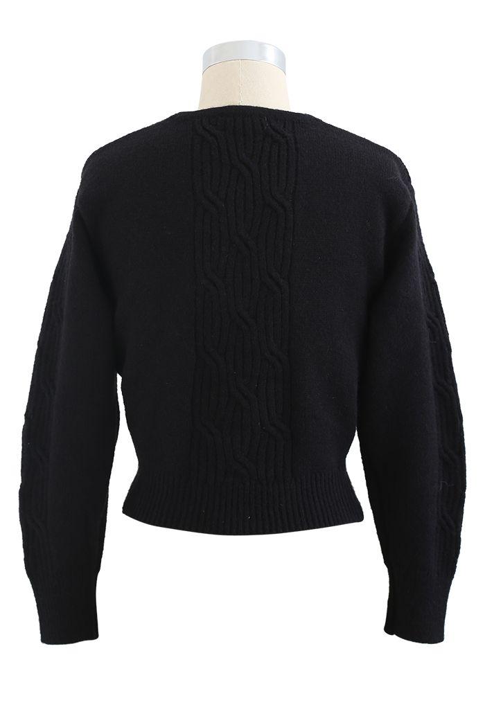 Crisscross Crop Ribbed Knit Sweater in Black