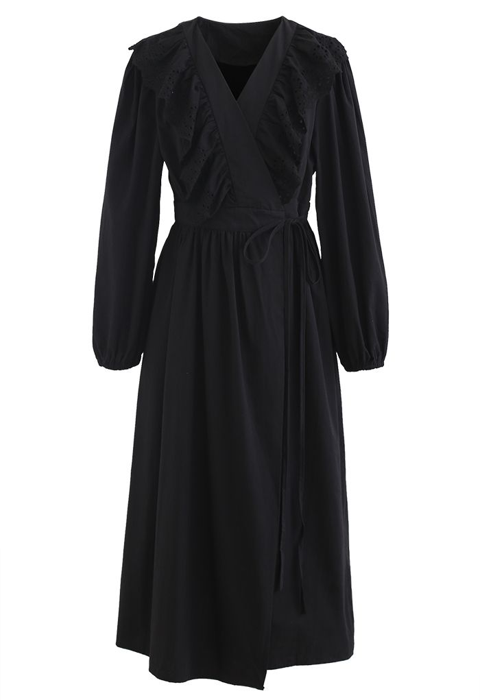 Eyelet Ruffle Front Wrap Long Sleeves Dress in Black
