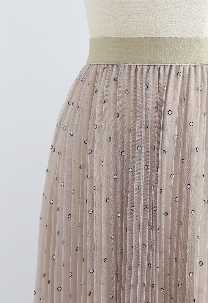 Glitter Dots Double-Layered Pleated Tulle Mesh Skirt in Tan