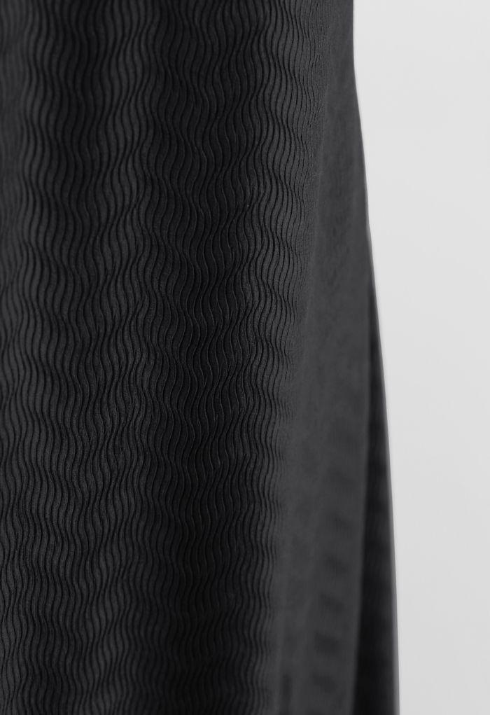 Wave Textured Velvet Cami Dress in Black