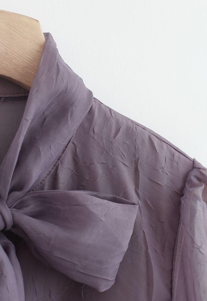 Sheer Bowknot Button Down Shirt in Purple