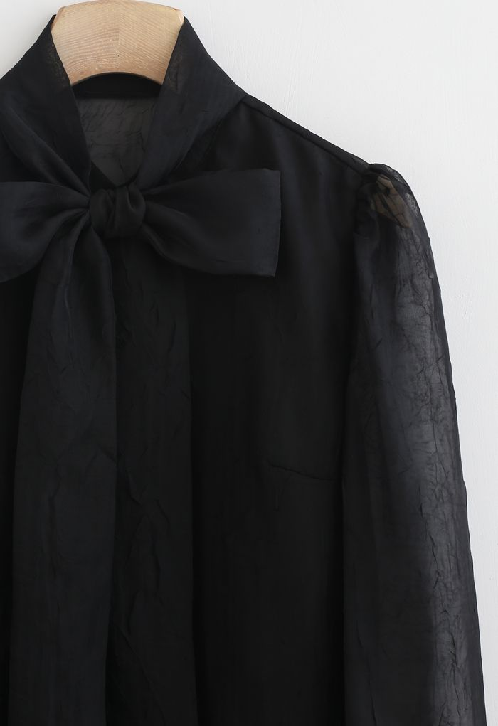 Sheer Bowknot Button Down Shirt in Black
