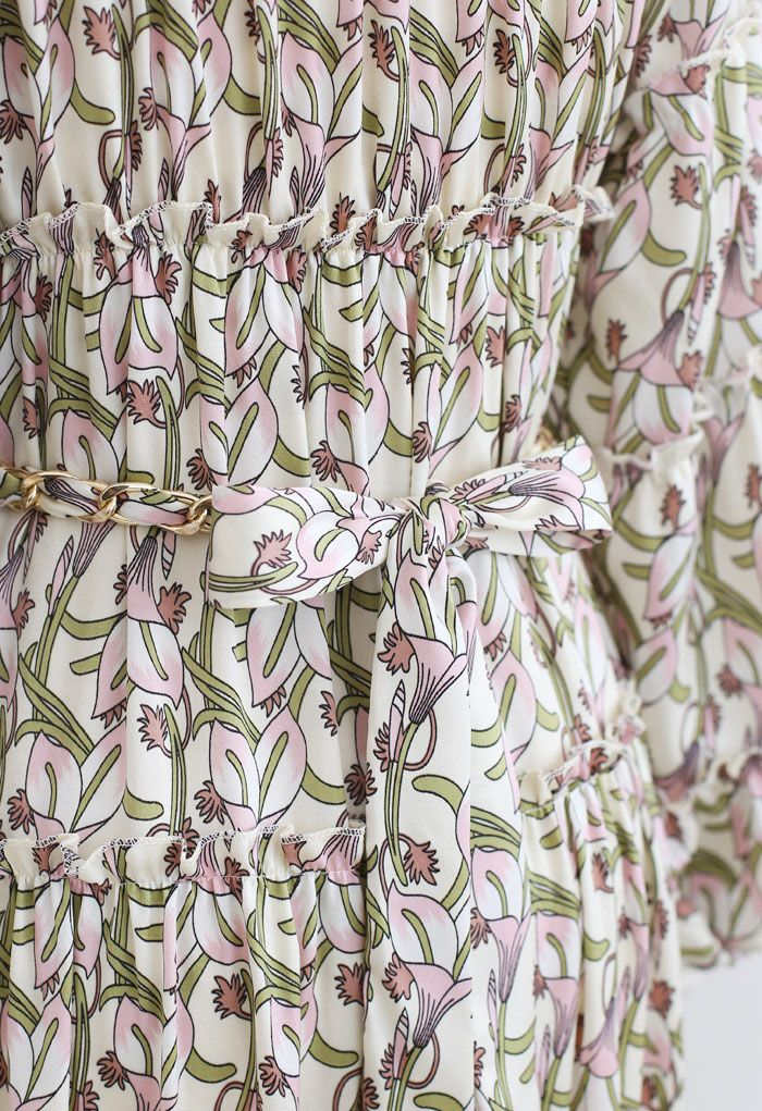 Calla Lily Print Puff Sleeves Chain Belted Maxi Dress