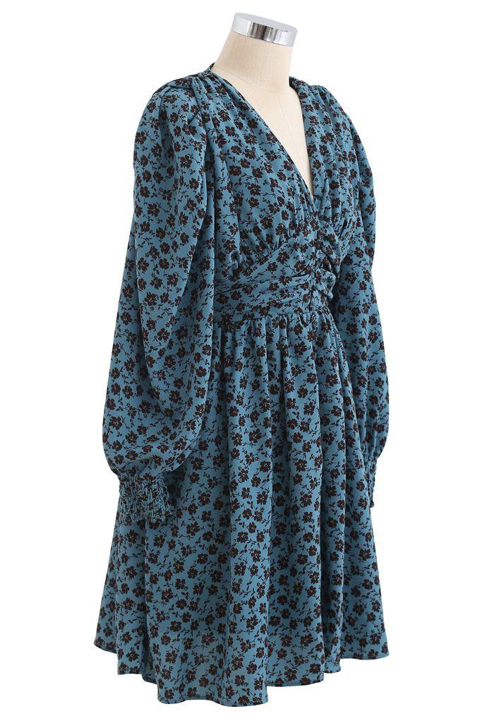 Padded Shoulder Floret Printed V-Neck Dress in Turquoise