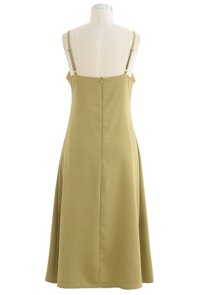 Twist Bust Flare Cami Dress in Mustard